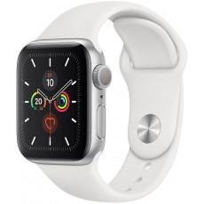 Apple Watch Series 5 44mm корпус из алюминия серебристый, спортивный ремешок белый